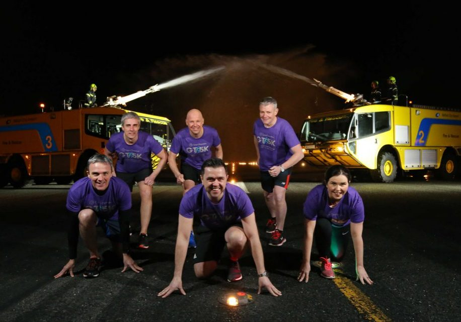 The 2018 Grant Thornton Runway Run has been launched in ceremonial style with a water cannon salute signalling that entries are open for the fourth year the ever-popular event. Launching the 5k team race is, front centre, radio presenter Pete Snodden, who will provide commentary on the night, with Grant Thornton's Partner team, from left, Neal Taylor, Peter Legge, Managing Partner Richard Gillan, Patrick Gallen and Louise Kelly. Around 600 runners from businesses across all sectors will take to the runway at 11pm for the run on Thursday 21 June for which Grant Thornton has selected the Simon Community as its charity partner. To register and to view full terms and conditions, please visit www.grantthorntonni.com/runway-run.