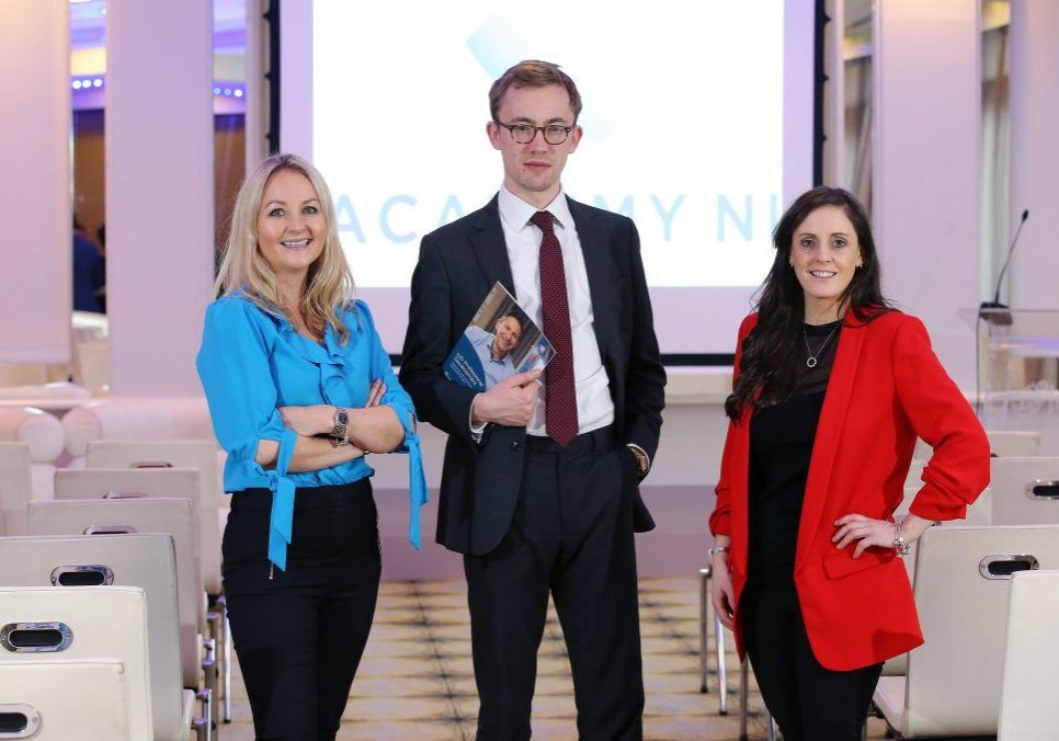 """: The new IoD Academy NI, aimed at setting new standards of excellence among Northern Ireland's business leaders, has been officially launched. IoD Corporate Governance Analyst James Jarvis pictured with, from left, Emma Jayne Mawhinney, IoD Academy NI Business Development Manager and Elaine O'Neill, IoD NI Programme Director, told the launch that increasing complexity of the role of modern directors and heightened public interest illustrated that """"there's never been a better time to invest in professional development"""". The Academy will provide a broad range of courses to enhance the skills of local directors such as the role of a director and the board, finance for non-financial managers, strategy, and leadership for directors as well as offering the flagship Chartered Director qualification. For more information, visit www.iod.com/academyni or call 028 9091 2829 or email Emma Jayne Mawhinney EmmaJayne.Mawhinney@iod.com"""