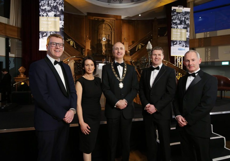 Pictured at the Institute of Directors Northern Ireland (IoD NI) Annual Dinner held at Titanic Belfast, centre, Ian Sheppard, IoD NI Chairman with from left, Stephen Martin, IoD Director General; Catriona Gibson, Managing Partner of associate sponsor Arthur Cox; Dale Guest, Director Corporate Banking Northern Ireland at main sponsor Bank of Ireland UK and Mark Logan, former Skyscanner COO.