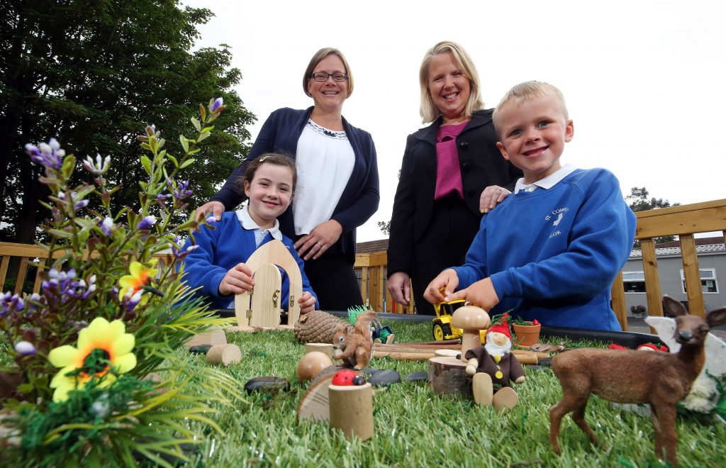 Pupils at a Bangor primary school are celebrating with the arrival of their new eco garden, thanks to support from George Best Belfast City Airport.