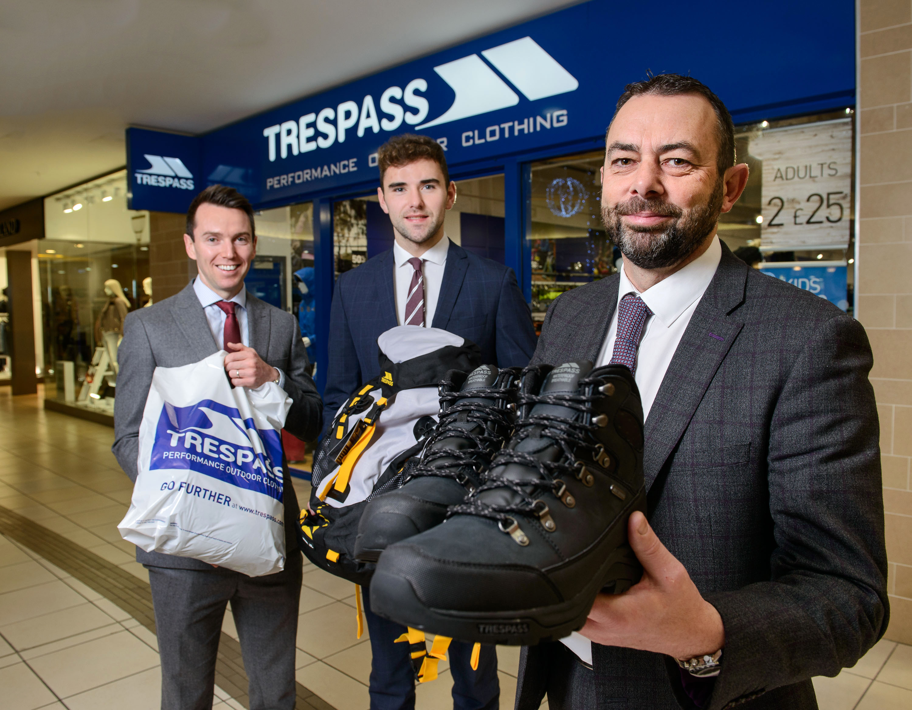 Public Relations: Welcoming the arrival, which has created five new jobs are, from left, Tony Kernan, Associate Director at Lambert Smith Hampton, Andrew Knox, Surveyor, Lisney and centre manager Gareth Thomas. Trespass has taken a prime 2,200 sq ft unit adjacent to River Island, New Look, and the recently refurbished Costa. The centre is under the ownership of EML Meadowlane Ltd and is home to an impressive portfolio of retailers including Dunnes Stores, Holland & Barrett, Boots, O2, Poundland and Iceland.