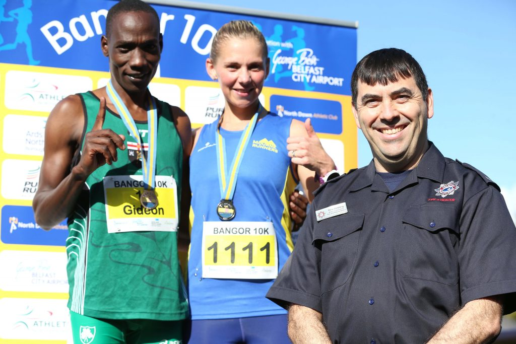 Gideon Kipsang and Laura Graham won the top prizes at the Bangor 10K, in association with George Best Belfast City Airport, as a record number of runners took part in the popular event.