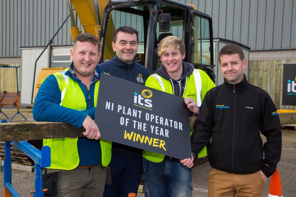 Alexander Campbell, right, from Donaghcloney has been named the first ever Northern Ireland Plant Operator of the Year by leading training provider Industry Training Services (ITS). He is congratulated by ITS Managing Director Brendan Crealey, centre, and Justin Carrigan of competition associates Plant and Civil Engineer. Portadown-based ITS had launched the search to find the best operators of excavator and telehandlers from across Northern Ireland. After negotiating a round of heats, finalists took to ITS' specially designed course on its 10-acre site to take part in a series of timed challenges. Alexander (24) has been driving plant machinery for six years and works for Colin Campbell Contracts in Dromore.