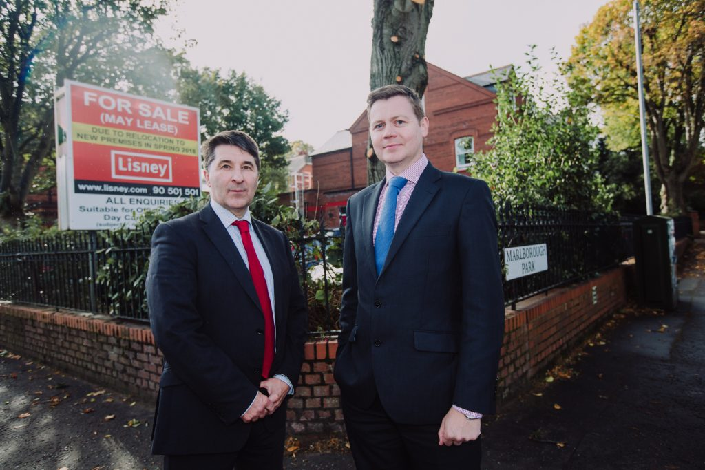 Andrew Gawley, Associate Director at Lisney, right, and Action Cancer Chief Executive Gareth Kirk are pictured at the period property, located on Marlborough Park, which has come to the market due to the planned relocation of the charity to new premises in spring 2018. The building is suitable for use as offices, clinic, day care facility and nursery, subject to the necessary consents.