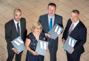 Manufacturing Northern Ireland Chief Executive Stephen Kelly, centre, hosted a seminar on accidents in the workplace with Willis Insurance and Risk Management advisers, from left, David Sinnamon, Jacqueline Shakspeare and Andrew Galway at the Seagoe Hotel, Portadown. Delegates representing manufacturers from across Northern Ireland heard from the Belfast broker on the steps that could be taken to establish robust health and safety systems, thereby improving staff well-being and improving businesses' bottom line in the process. More than 137 million working days were lost in the UK last year due to sickness or injury with employees in manual sectors absent by an average of two additional days compared to other industries.