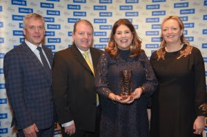 Allianz Art & Business NI Awards 2018 celebrations with Sean McGrath, CEO, Allianz; Martin Bradley, MBE, Chair, Arts & Business NI; Michelle Hatfield, George Best Belfast City Airport (Business of the Year Award winner) and Mary Nagele, Chief Executive, Arts & Business NI