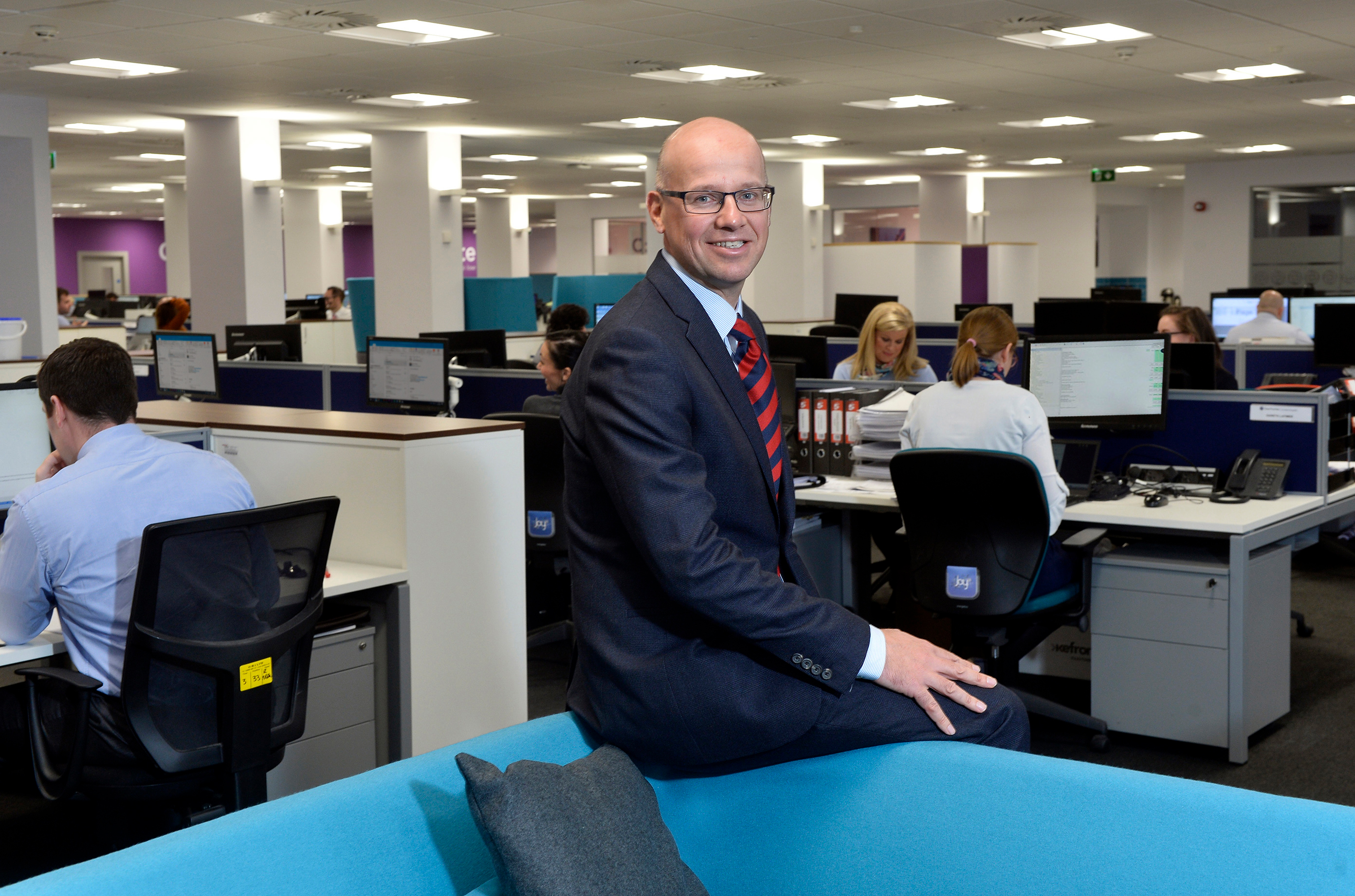 Public Relations: Richard Gillan, Managing Partner of Grant Thornton Northern Ireland, in the firm's new office on the third floor of the landmark building on Donegall Square West, which also serves as Danske Bank UK's headquarters. Grant Thornton has made a seven-figure investment in the project, with the state-of-the-art Grade A office facilities featuring a largely open plan office with call booths and collaboration zones throughout.