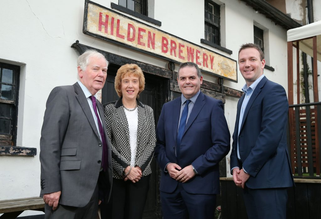 Directors from some of Northern Ireland's best known food and beverage businesses gathered at Hilden Brewery recently for a dinner and panel discussion hosted by leading business advisory firm Grant Thornton. Pictured at the event, from left, are Hilden Brewery founder Seamus Scullion, guest speaker Joy Alexander, Head of Food Technology Development at CAFRE, Charlie Kerlin, Head of Grant Thornton's Food and Beverage team in Northern Ireland, and Padraig Ryan, Agri-Food Lead Consultant, Grant Thornton Ireland. During the discussion, those in attendance expressed a concern that a lack of devolved government in Northern Ireland could deepen an already growing skills shortage in the food and drinks sector.