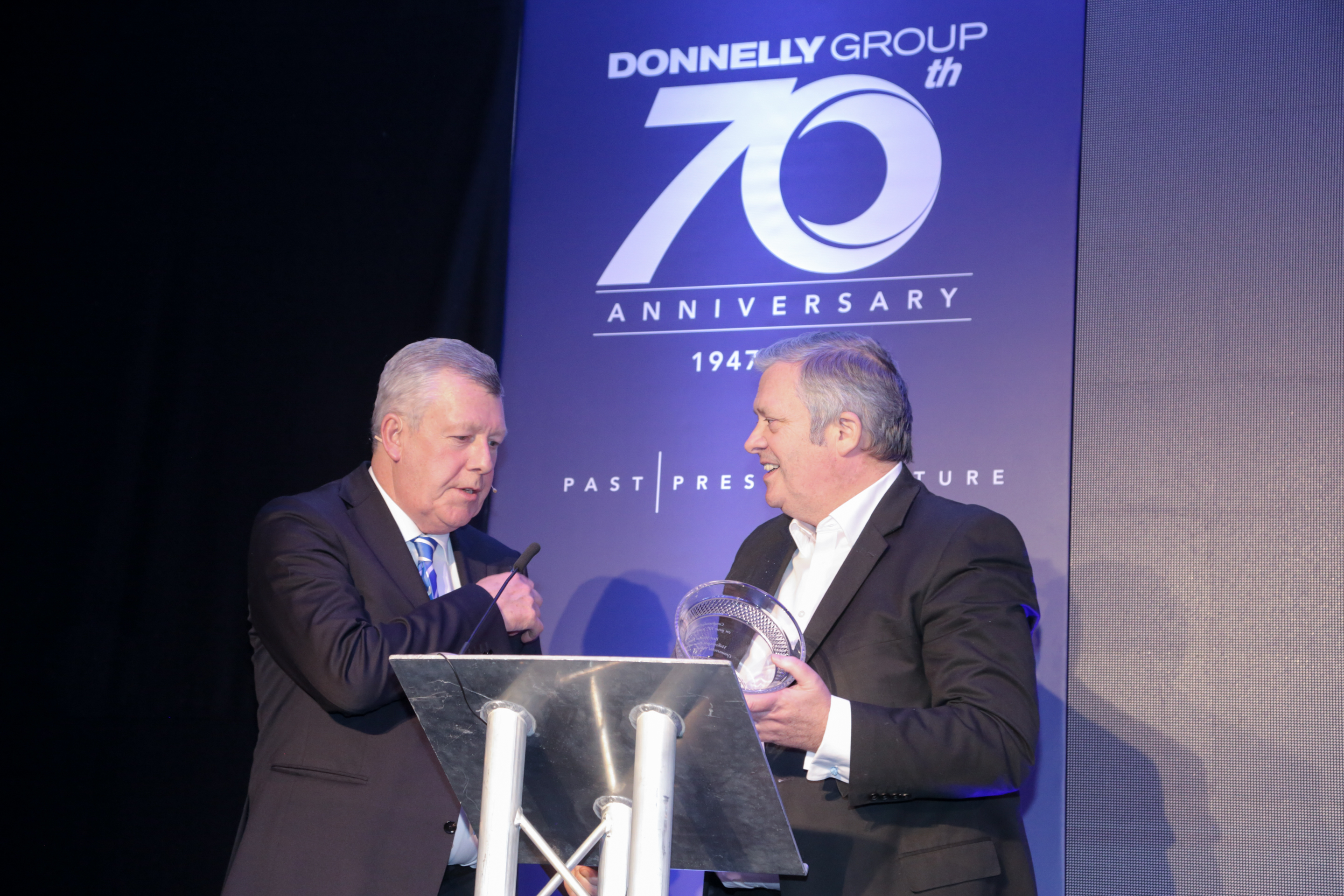 Donnelly Group Public Relations: Volkswagen UK managing director Paul Willis congratulates Terence Donnelly