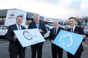 Northern Ireland's largest family-owned new and used vehicle retailer Donnelly Group is celebrating after becoming the first dealer group locally to go 'carbon neutral' after joining the new Castrol Carbon Neutral Programme supported by BP Target Neutral. Making the announcement, from left, Donnelly Group Managing Director Dave Sheeran and Director Raymond Donnelly; Stephen Walker, National Key Account Manager, Castrol and Michael Capper, Global Development, BP Target Neutral. Donnelly Group is offering customers purchasing a vehicle from any one of its 18 manufacturers across the group's eight locations in Northern Ireland, the opportunity to drive completely carbon neutral for the first year of ownership, by calculating and offsetting the carbon footprint of their first 10,000 miles, by investing in projects to reduce pollution in some of the most impoverished parts of the world.