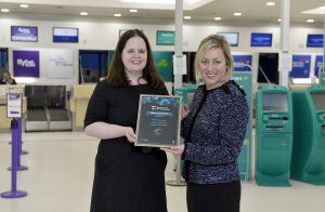 Ellie McGimpsey and Katy Best celebrate the success of Belfast City Airport at the Routes Europe Marketing Awards - Lighthouse Communications