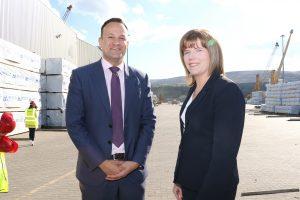 Taoiseach Leo Varadkar with Clare Guinness CEO Warrenpoint Port.