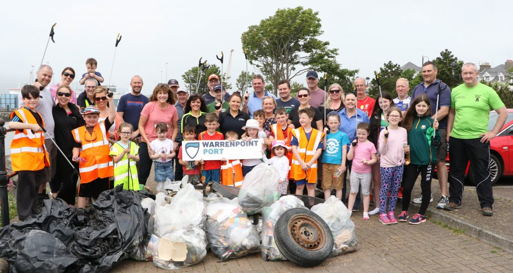Items including plastic and glass bottles, fast food cartons, tyres and even a discarded vacuum cleaner were among the rubbish collected by volunteers from Warrenpoint Port during a clean-up of the town's beaches on Saturday.