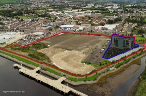 An outline showing the Fort George site in Derry/Londonderry.