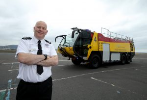 Seamus Mac Mahon, Chief Fire Officer at George Best Belfast City Airport Fire & Rescue Service marks the arrival of the first £1m fire appliance to the airport.