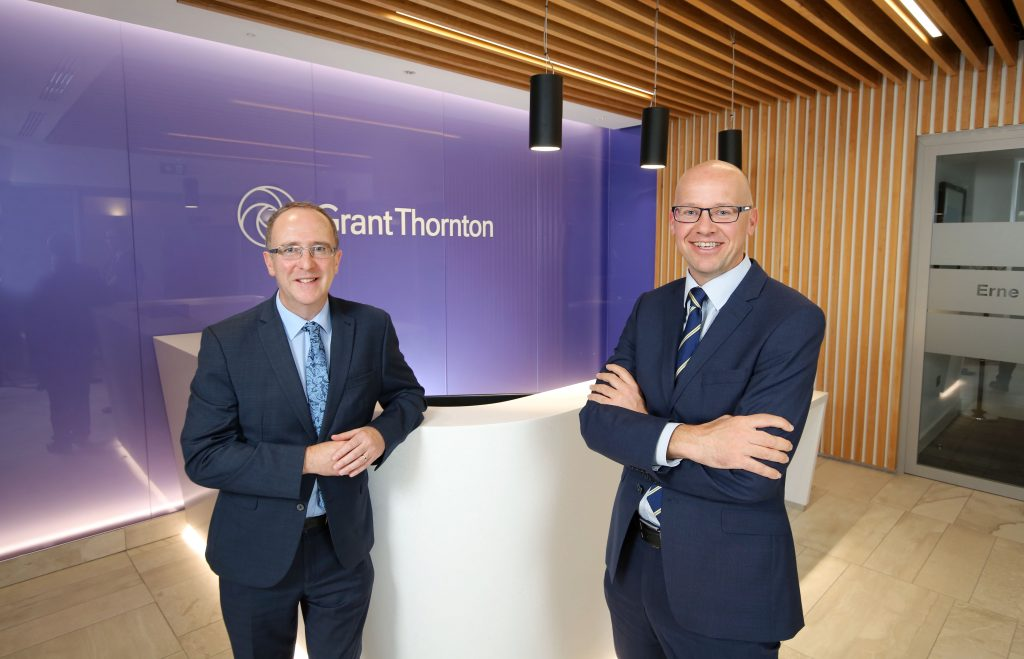 Des Gartland, Invest NI, and Richard Gillan of Grant Thornton annouce a £4 investment into Grant Thornton NI.