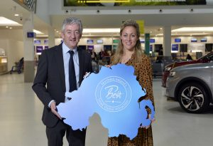 John McGrillen, CEO Toursim NI; and Katy Best, Commercial and Marketing Director at Belfast City Airport