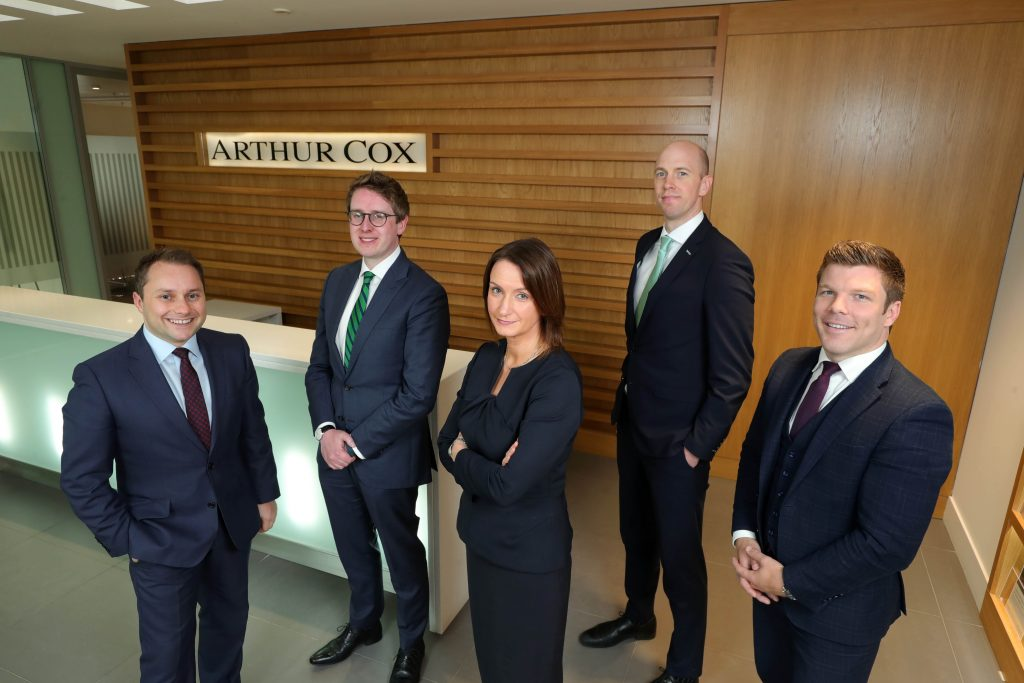 Arthur Cox Managing Partner Catriona Gibson welcomes the appointment of four new Partners to the leading law firm, from left, Chris Milligan, David Black, Mark Jameson, and Cahal Carvill