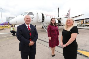 Loganair Sales Manager Colin Gracey, Ellie McGimpsey, Aviation Development Manager at Belfast City Airport and Sharon Robertson, Head of Loganair Contact Centre