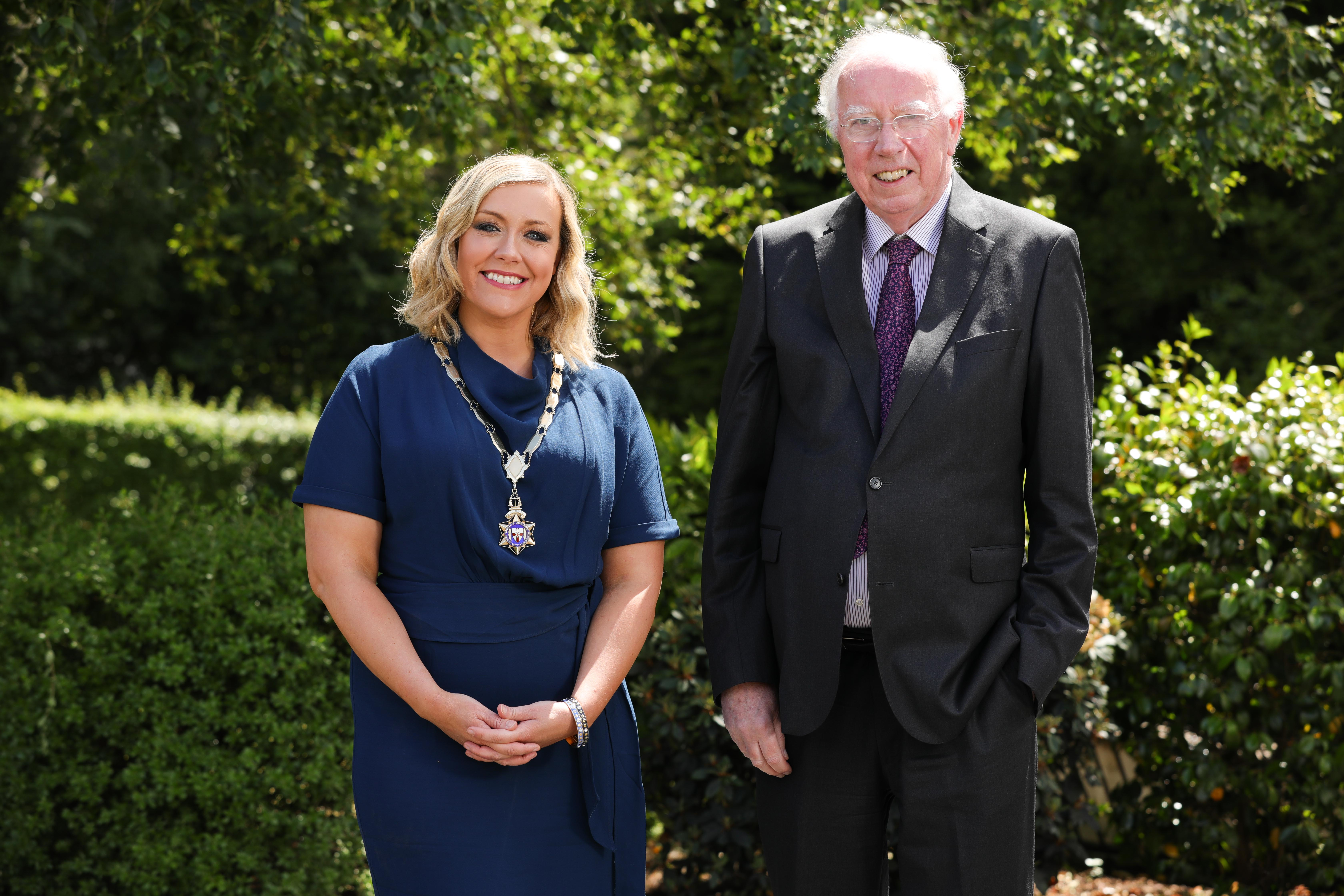 Pictured after the Ulster Society's Virtual AGM is new Chartered Accountants Ulster Society Chair Maeve Hunt, with her father James Hunt, who served as Chairman of the Ulster Society in 1990.