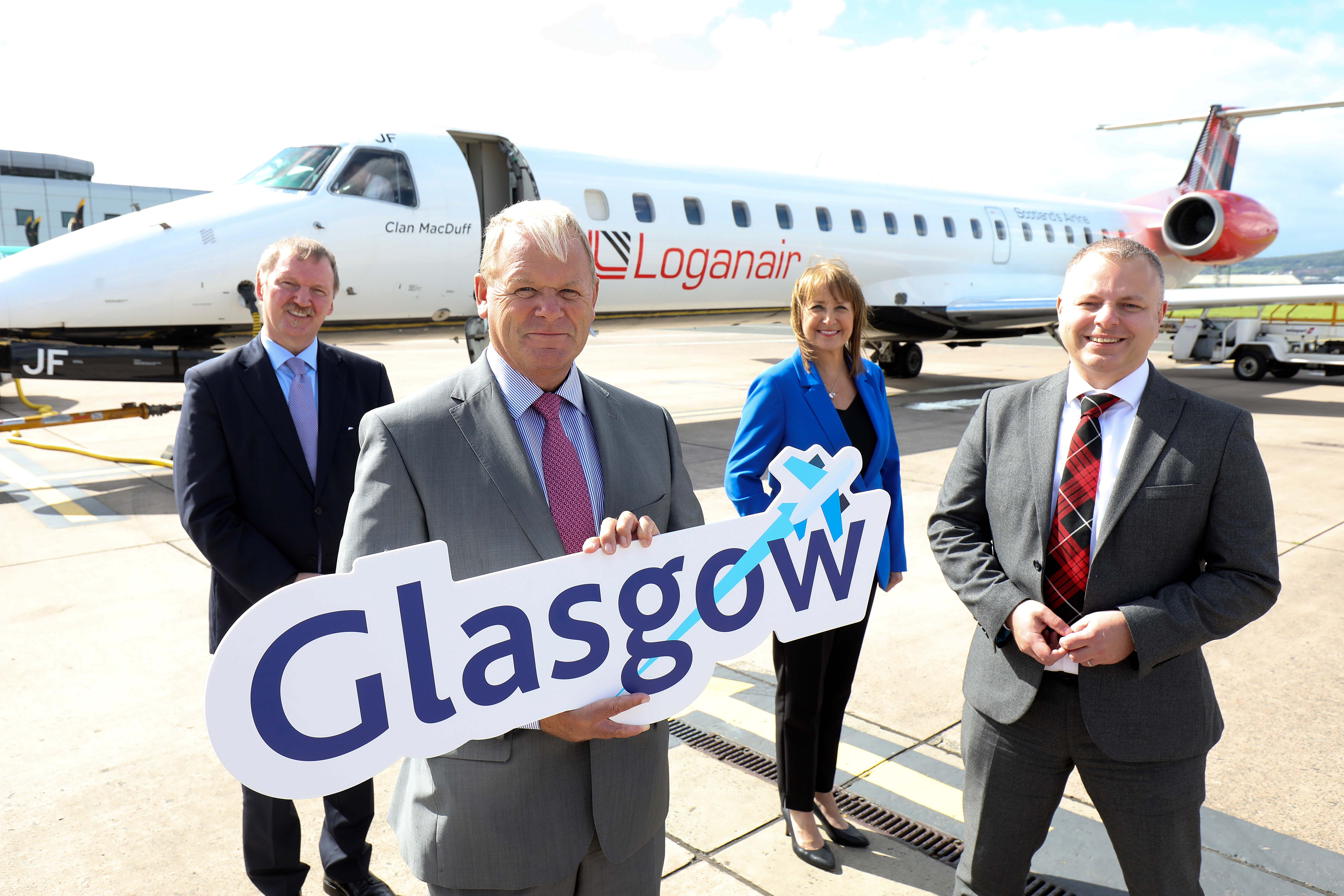 Stuart Patrick, Chief Executive for the Glasgow Chamber of Commerce; Brian Ambrose, Chief Executive at Belfast City Airport; Ann McGregor, Chief Executive for the Northern Ireland Chamber of Commerce; and Johnathan Hinkles, Chief Executive for Loganair.