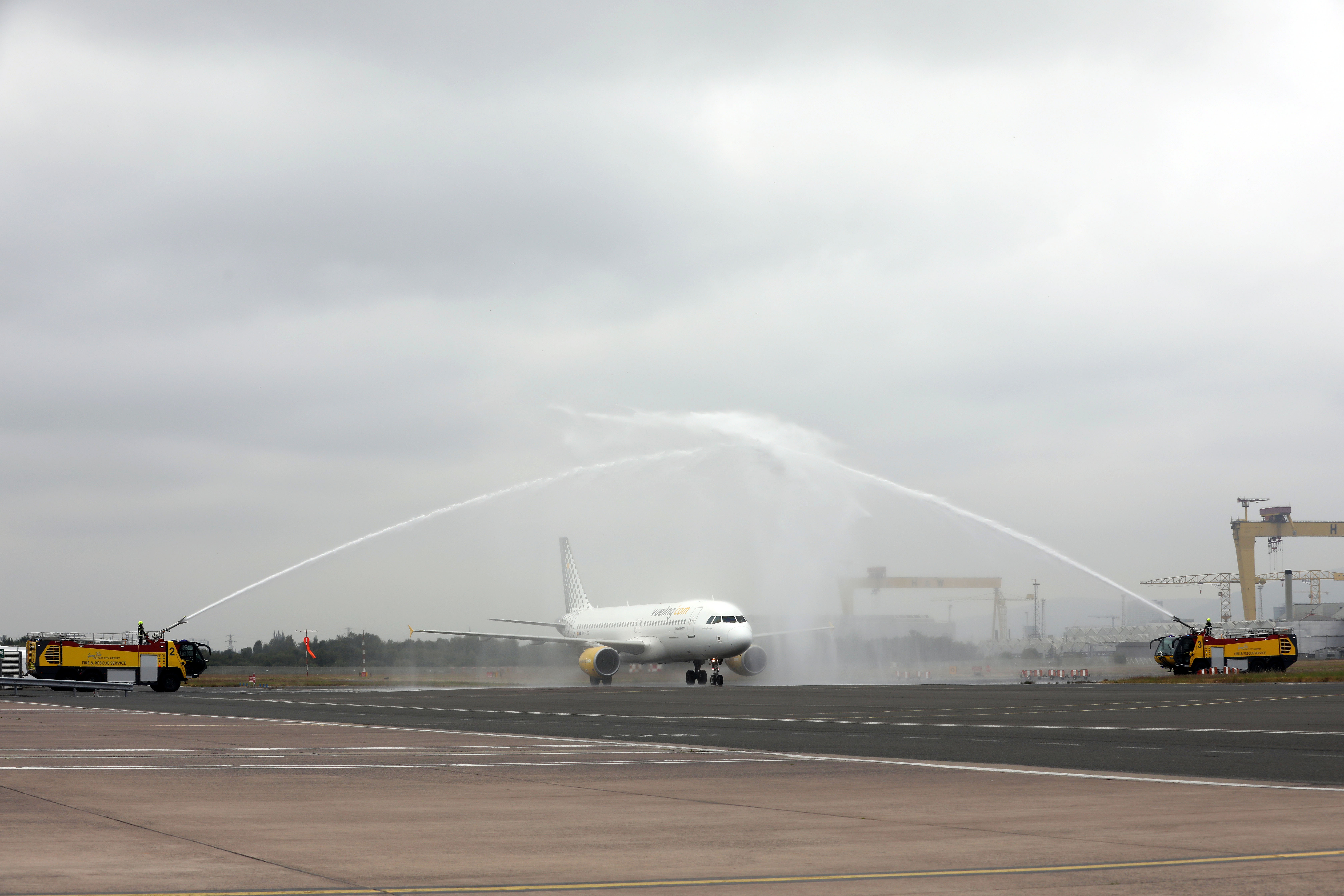 A water cannon salute greets Vueling's inaugural flight from Barcelona