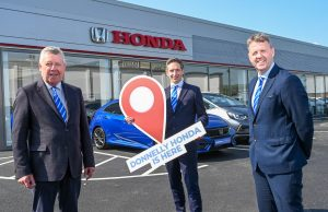 Terence Donnelly, Executive Chairman of the Donnelly Group, Paul Compton, Site Director, and Dave Sheeran, Managing Director of Donnelly Group, mark the opening of the new Donnelly Honda showroom on the Boucher Road.