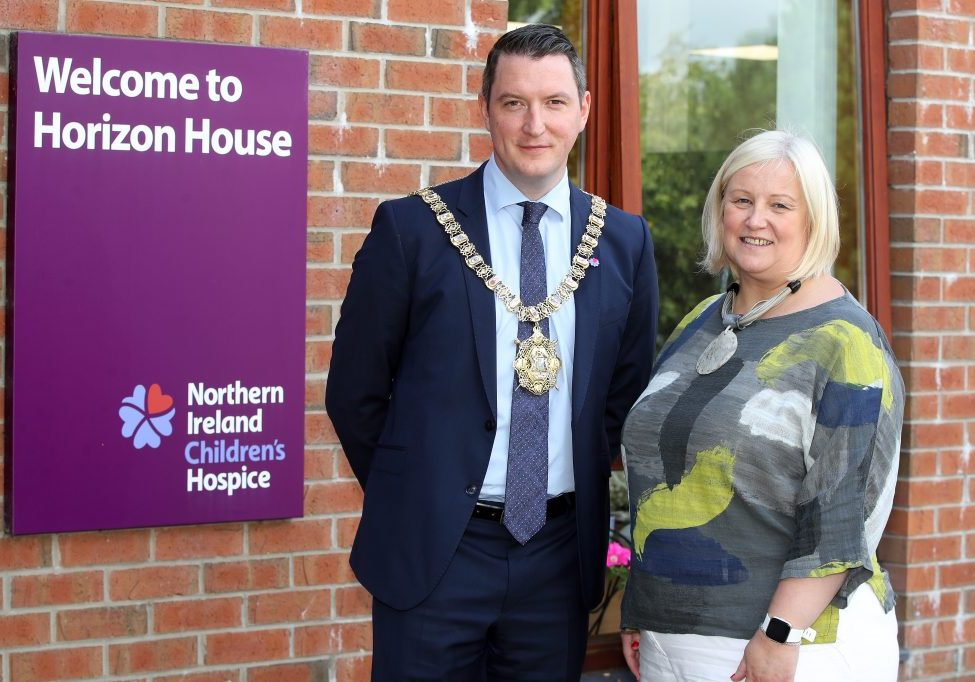 Heather Weir, Chief Executive of the Northern Ireland Hospice welcomes Lord Mayor of Belfast, John Finucane to NI Children's Hospice; Horizon House.