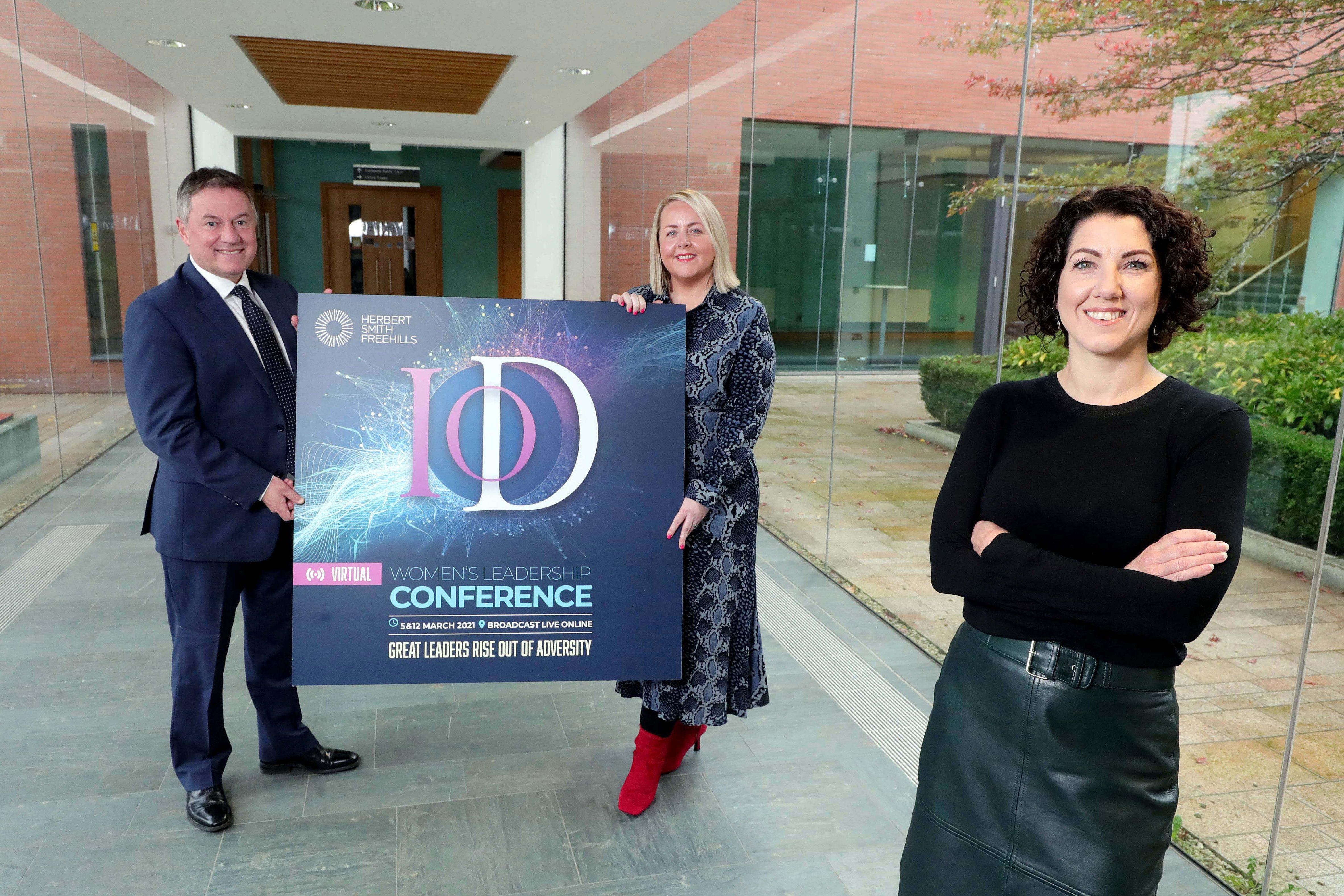 IoD Women's Leadership Conference Launch with Gordon Milligan, Kirsty McManus and sponsor representative Lisa McLaughlin