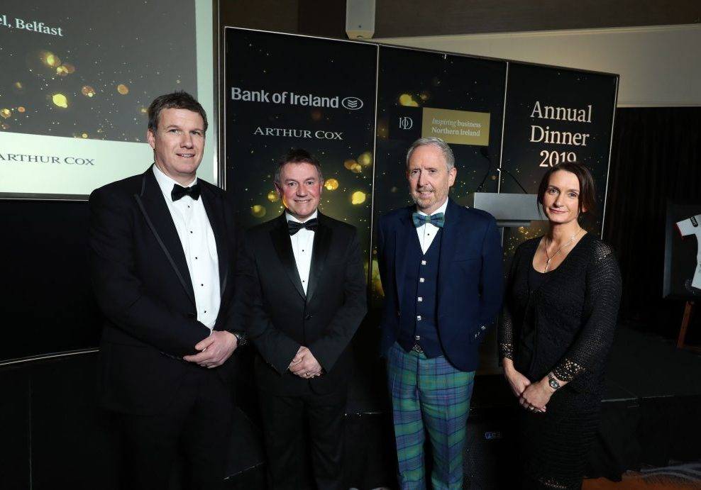 Pictured at the Institute of Directors Northern Ireland (IoD NI) Annual Dinner held at the Crowne Plaza Hotel, Belfast, from left: Dale Guest, Director Corporate Banking Northern Ireland at main sponsor Bank of Ireland UK, Gordon Milligan, IoD NI Chairman, guest speaker Martin McCourt, Chairman of Glen Dimplex and Catriona Gibson, Managing Partner of associate sponsor Arthur Cox. The event, which was attended by more than 400 guests heard a warning that Northern Ireland should not be allowed to 'sleep walk into a no deal Brexit', as the clock runs down on negotiations.