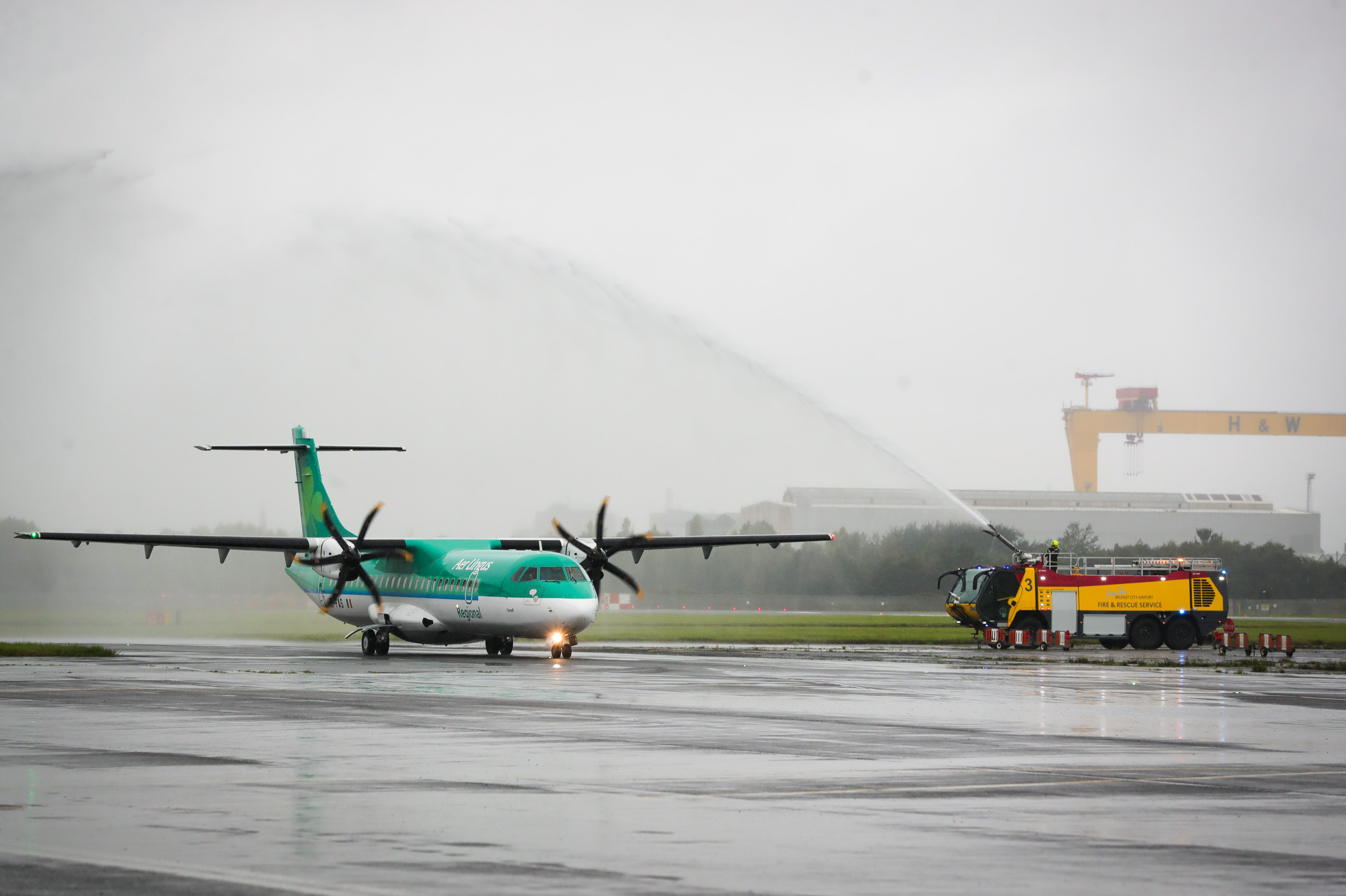 Aer Lingus Water Cannon Salute for Belfast City to Edinburgh Service